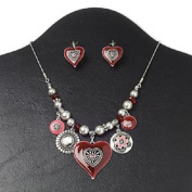"""Necklace and earring, glass / black lip shell (natural) / enamel / antiqued silver-finished """"pewter"""" (zinc-based alloy) and steel, pink and red, heart,41cm with 7.6cm extender chain and lobster claw clasp, 2.5cm - 0.3cm earrings with leverback earwi .."""