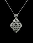 18K White Gold Rhodium Custom Made CZ Necklace - GY39N