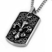 Stainless Steel Fleur De Lis Men's Dog Tag Pendant