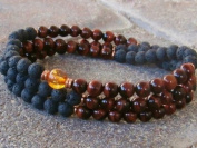 The Art of CureTM (70cm ) Healing Jewellery & Mala meditation beads (108 beads on a strand) Black Lava & Tigers Eye