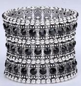 Black. Crystal Stretch Stretch Bracelet 3 Row