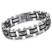 Elegant Style Stainless Steel Bracelet + an Energy Card of 2K Negative Ions (For Men)-77BR