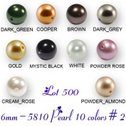Wholesale Lot 500 6mm. 5810 Crystal Pearl Beads 10 Colours