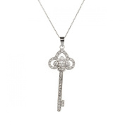 Sterling Silver 925 CZ Skeleton Key Pendant with 46cm Chain & Gift Box