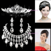 3PCS Super High Quality Crystal Tassel Bridal wedding Jewellery Sets Imperial crown+Necklace+earrings Classic Jewellery Wedding Accessory, Party Jewellery