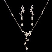 1 Set 18k White Gold Cz Crystal Necklace, Tear Drop Earring with Beautiful Flower Cz