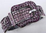 Purple Pink. Crystal Belt Cuff Bracelet