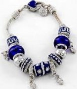 Blue Murano Glass Bead Charm Bracelet