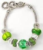 Green European Style Murano Glass Beads Charm Bracelet