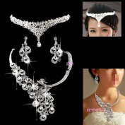 3PCS Super Quality V DROP Crystal Bridal wedding Jewellery Sets Imperial crown+Necklace+earrings Classic Jewellery Wedding Accessory, Party Jewellery
