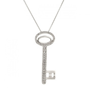 Sterling Silver 925 CZ Oval Key Pendant with 46cm Chain & Gift Box