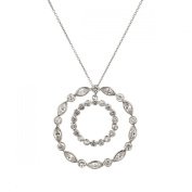 Sterling Silver 925 Double Circle Twist CZ Pendant with 46cm Chain & Gift Box