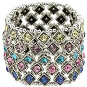 Multi Colour Crystal 5 Row Stretch Bracelet