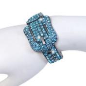 Blue Crystal Belt Cuff Bracelet