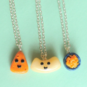 Handmade Macaroni and Cheese Three-Way Best Friend Necklaces