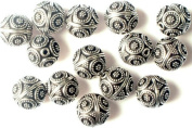 Sterling Beads with Flower Motifs(Price Per Four Pieces) - Sterling Silver