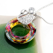 ". Swiss Crystal Drop Pendant Sterling Silver Necklace-Swan with Rainbow Drop,925 Pure Sterling Silver 2.6cm H x 2cm W, Weight 3.83g,One of 2010. Perfect for Gift, .  d.Comes with Sterling Silver 16"" Chain($28.00 V .."