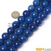 Gem-Inside 16mm Round Blue Agate Beads Strand 15 Inches Jewellery Making Beads