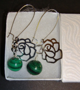 Malachite Green Marble Ball Sterling Silver Flower Earring - European Handmade Danish Design Jewellery
