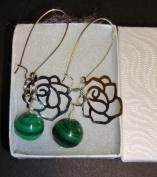 Malachite Green Marble Ball Sterling Silver Flower Earring - European Handmade Danish Design Jewellery