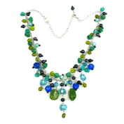 Silver Green and Blue Glass Bead Charm Necklace