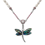 Mother of Pearl Dragonfly Design Colourful Green Shell 7mm Natural Freshwater White Pearl Chain Pendant Necklace