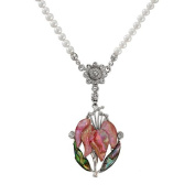 Mother of Pearl Pink Orchid Flower Design Shell 4mm Natural Freshwater White Pearl Chain Pendant Necklace