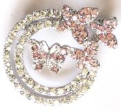 """Crystal Brooch Lapel Pin """"Butterflies & Flowers"""""""