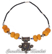 Moroccan Handmade Tribal Amber and Pewter African Necklace