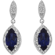 .925 Sterling Silver Earring with Natural Sapphires