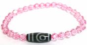 Mini 2 EYE DZI Bracelet with 6mm Pink Sawarovski Lead Crystal