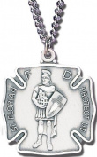 Sterling Silver St.Florian Medal with Chain