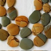 "Wild Horse Picture Jasper 16-3/4"" Strand of 12x25 to 33x40mm Free Form, Graduated, and Knotted Slabs"