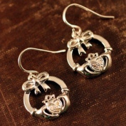 Diamond Claddagh Bow Earrings