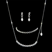 Tear Drop Earrings, Cz Chain Pendant Necklace & Tennis Bracelet