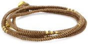 M. Cohen Handmade Designs Beads on Four Layer Coloured Wax Knotted Cord Wrap Bracelet