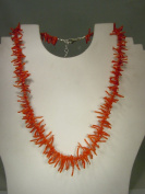 46cm - 60cm Sterling Silver and Genuine Mediterranean Red Coral Graduated Branch Bead Necklace dl