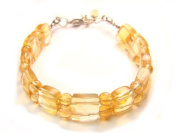 BA5831F Natural Citrine Mixed Shapes Findings Bracelet
