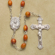 Sterling Silver Rosary Rosaries Catholic 5x7mm Genuine Rose Wood Beads