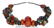 Boho Chic Moroccan Handmade Tribal Vintage Stone and African Glass Bead Necklace