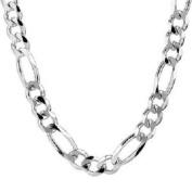 """Italian Sterling Silver Men Figaro Necklace 20""""L 9.5mm Width"""