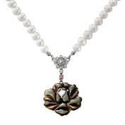 Mother of Pearl Rose Flower Design Colourful Dark Green Shell 6-7mm Natural Saltwater White Pearl Chain Pendant Necklace