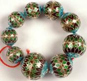 Sterling Meenakari Beads (Price Per Nine Piece) - Sterling Silver