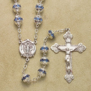Sterling Silver Rosary Rosaries Catholic 7mm Multi Set Aqua Beads