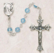 ". Sterling Silver Rosary 8mm Aqua Beads, Rhodium-plated Chain -2""crucifix Gift Box"