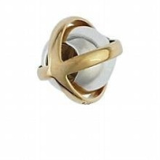 Marketplace 161018 Gold Crossover Bead in Sterling Silver & 14K Yellow Gold Moress XGS-14