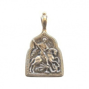 Saint George Medallion Pendant - 24K Gold and 925 silver (2.5x2x.25 cm or 1x0.8x0.1 inches) Fedorov Design Orthodox