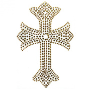 Rhinestone Iron on Transfer Hot Fix Design Gold Cross 3 Sheets 3.5* 21cm