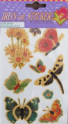 "PACK of IRON ON ""BUTTERFLY & FLOWER"" STICKERS (Butterflies & Flowers) w GOLD GLITTER Accents"