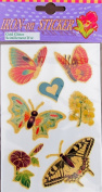 "PACK of IRON ON ""BUTTERFLIES, FLOWERS & HEART"" STICKERS (Butterfly & Flower) w GOLD GLITTER Accents"